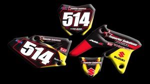 custom motocross graphics, pre-printed graphics, motocross full kits, graphics kit, front fender, swing arm, logos, front forks