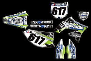 custom motocross graphics, pre-printed graphics, motocross full kits, graphics kit, front fender, swing arm, logos, front forks