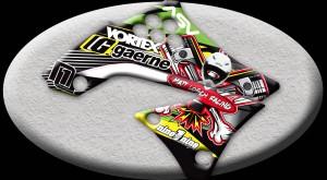 custom motocross graphics, pre-printed shrouds, motocross full kits, graphics kit, dirtbike shrouds,
